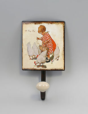 hook bar Metal Girl with Chickens Vintage Shabby Chic 9973158