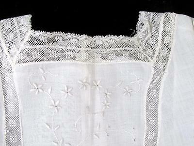 Antique VICTORIAN White Embroidered & Lace CHILD'S DRESS or Large Doll Ex. Cond.
