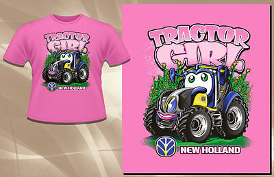New Holland Light Pink Tractor Girl T-shirt Toddler Size 100% Cotton  NH07-DRK--