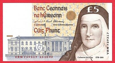 Ireland 5 Pound Banknote P-75b Dated 15.10.99  UNC