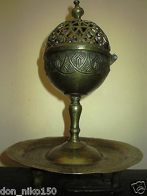 Antique Ottoman Islamic bronze vessel for fragrant oil-18 C