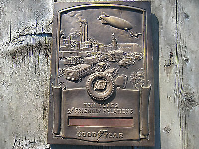 Good Year Goodyear Ten Years of Friendly Relations Plaque Medallic Art Co NICE!
