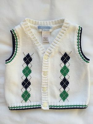 Janie and Jack Sweater Vest Boys Size 3-6 mos EUC White w/ Argyle