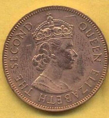Very Attractive, Vintage High Grade 1961 Seychelles Two Cent Piece.