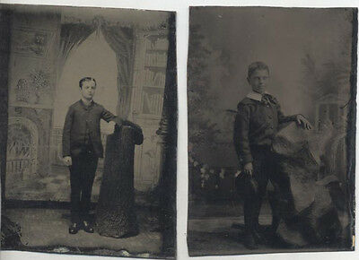 Set Of Two Tintype Portraits Of Sassy Young Men W/ Painted Backdrops
