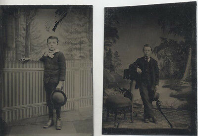Set Of Two Tintype Portraits Of Dandy Young Men W/ Painted Backdrops