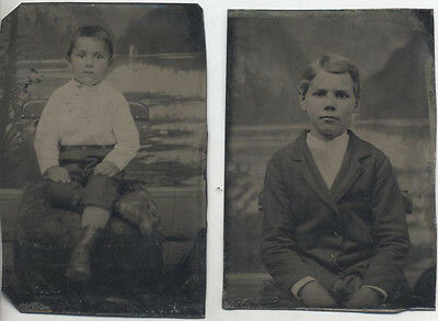Set Of Two Tintype Portraits Of Well-Dressed Young Boys W/ Painted Backdrops
