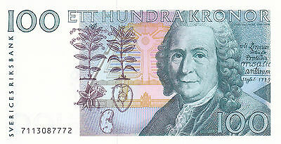 Sweden:100 KRONOR,P#57a,1987,S/N7113087772,grades a CH/CU.Read below for more in