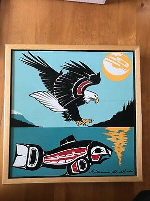 Signed Clarence A. Wells Square Box Pacific Northwest Haida Art Eagle & Whale