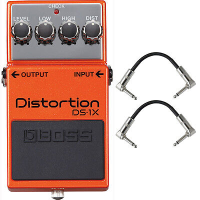 Boss DS-1X Distortion Guitar Effects Pedal Stompbox Footswitch + Patch Cables