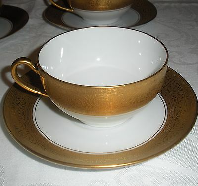 ANTIQUE SELB BAVARIA PAUL MULLER  Cup and Saucer WHITE AND ENCRUSTED GOLD