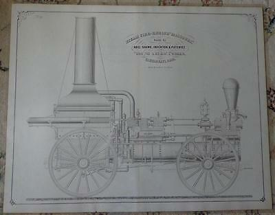 RARE Antique 1861 Steam Fire Engine Missouri HUGE LITHO PRINTS Engineer Drawings