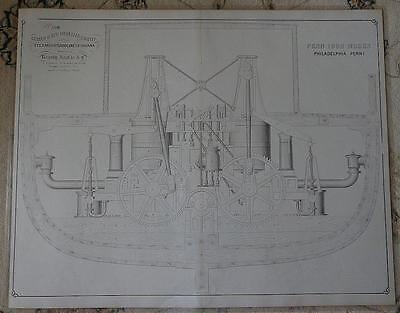 Antique 1861 Steamship Caroline SET 5 HUGE LITHOS Drawings PRINT Screw Propeller