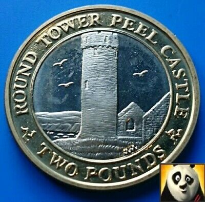 2004 Rare Key Date ISLE OF MAN £2 Two Pound Round Tower Peel Castle UNC AA Coin