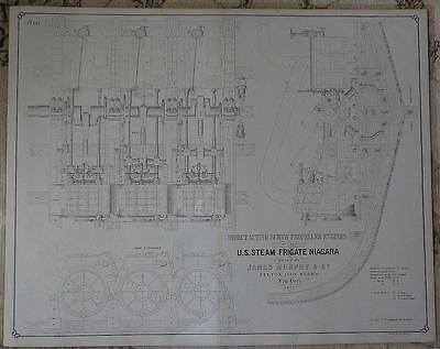 Antique 1861 USS Niagara Steam Frigate 3 HUGE LITHOS Mechanical Drawings PRINTS