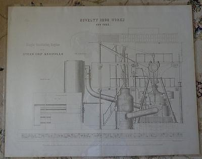 Antique 1861 Steamship Knoxville SET 8 HUGE LITHOS Mechanical Drawings PRINTS