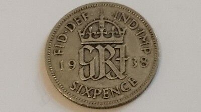 1938 King George VI .500 Silver Sixpence Coin