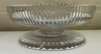 Antique Early Victorian Cut Glass Pedestal Bowl / Cake Plate