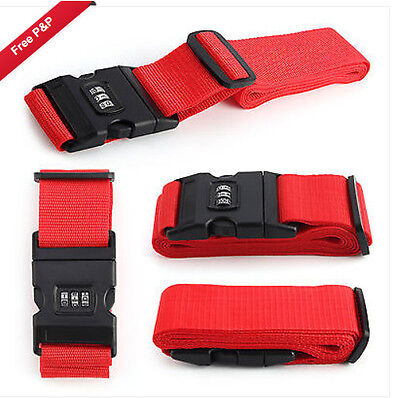 Red 1.8m Luggage Suitcase Lock Belt Strap Travel Baggage Tie Combination Down