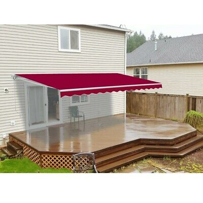 ALEKO Retractable Patio Awning 12 X 10 Ft Deck Sunshade Burgundy Color