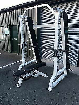 Precor Icarian smith machine with adjustable bench. Commercial gym equipment