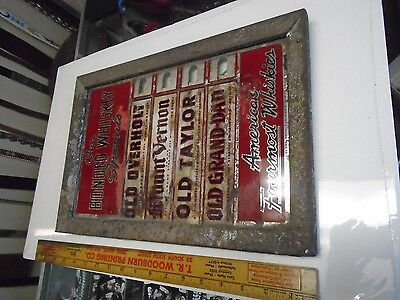 Vintage OUR BONDED WHISKEY AMERICA'S FOURMOST  REVERSE Painted GLASS SIGN