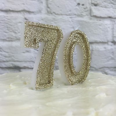Gold glitter number 70 Candles | 70th Birthday | Cake Decorations | Anniversary