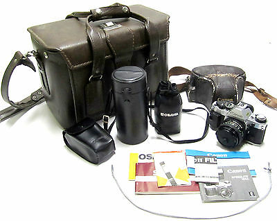 Vintage Canon AE-1 Program 35mm Film Camera w/Lenses in Leather Bag/Carry Case