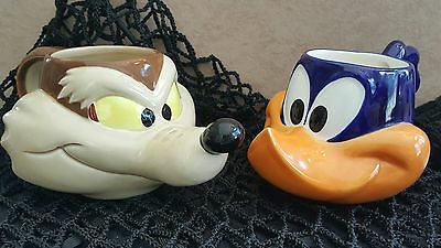 Road Runner & Wile E Coyote 1989 Looney Tunes Vintage Ceramic Coffee Mugs Cup