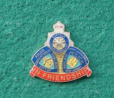 NYPD & Suffolk Constabulary Police IN FRIENDSHIP tie tac pin badge