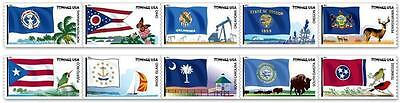 US Scott 4313-4322 44c Flags of Our Nation Set 5 - 1 Strip of 10 MNH Coil Stamps