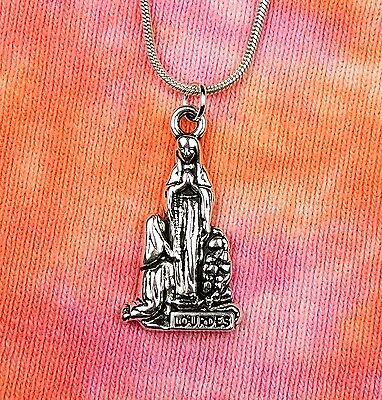 Our Lady of Lourdes Necklace, Bernadette Soubirous Marian Miracle Charm Pendant