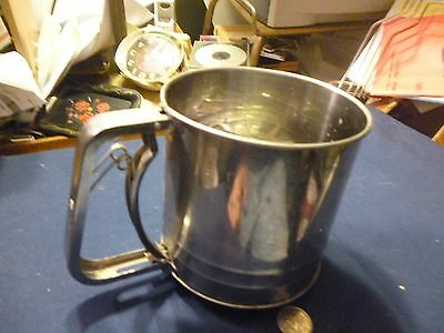 """vintage hand stainless steel flour sifter 5"""" diameter"""