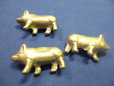"3 Miniature Adorable Solid Brass Pigs Figurines 1 7/8"" long"