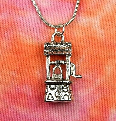 "Wishing Well Necklace, Water Well Charm Pendant Gift, pick 16-36"" chain"