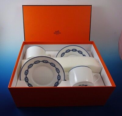 Set of 2 Chaine D' Ancre Blue by Hermes of France Porcelain Cups and Saucers