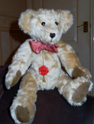 """13"""" Hermann Original Blonde Mohair Teddy Bear Made In Germany Fully Articulated"""
