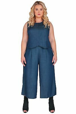 1ba47d190dc Standards   Practices Plus Size Women s Indigo Denim Wide-Leg Crop Palazzo  Pant