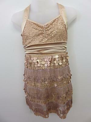 Dance Costume Large Child Gold Sequin Fringe Uintard Solo Competition Pageant