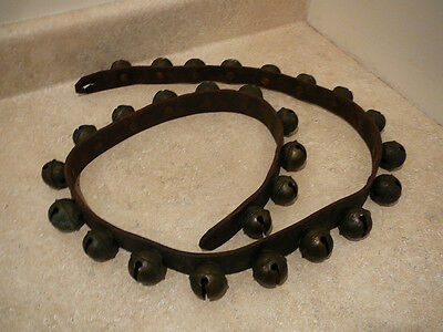S25 Antique 27 Brass Sleigh Bells On Leather Strap