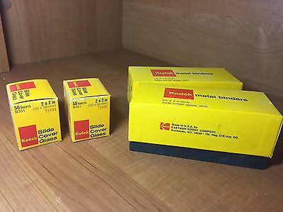 4 Boxes 50 Pack New Kodak 2x2 Slide Cover Glass & Metal Binders New Old Stock