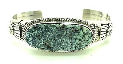 Navajo Sterling Silver New Landers Turquoise Cuff Bracelet - Mary Ann Spencer