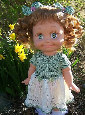 Hand Knitted Moss Green Ivory Easter Dress & Bows to Fit Galoob Baby Face Dolls