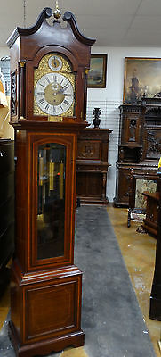 """ENGLISH GRANDFATHER CLOCK WITH FIVE TUBES QUARTER STRIKING GONG CASE 95"""" a.1900"""