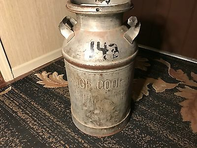 Antique Vintage Metal Milk Can Container!