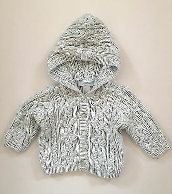 "JANIE & JACK ""Layette"" 3-6 Months Light Blue Cable Cotton Knit Hooded Sweater"
