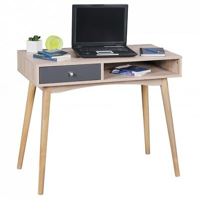 WOHNLING Retro Desk drawer Design table Computer table Sonoma / Gray Console