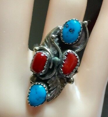 Native American Sterling Silver Turquoise Coral Ring Hand Signed Sz 6 Nice!