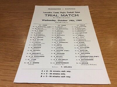 Lancashire County Rugby Union Trial Match At Bury Rufc Oct 1964