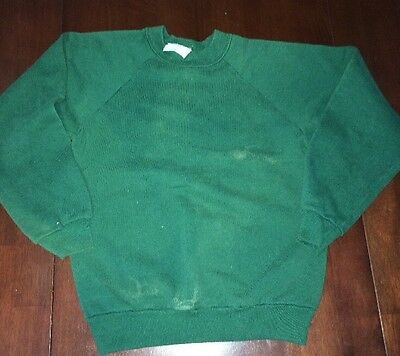 Vintage 80s 90s Youth Kids Sweatshirt Soft 50/50 Made USA Medium Green